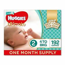 Huggies Ultimate Nappies,Unisex, Size 2 Infant (4-8kg), 192 Count FAST SHIPPING
