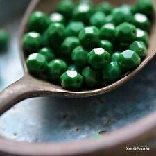 25 Rainforest Floor - Czech Glass, Opaque Grass Green, Fire-Polish Round Beads