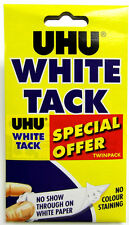 Uhu Blanco Tachuela Twin Pack (2 paquetes) - Blanco Reutilizable Adhesivo De No Mancha Tachuela