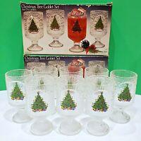 "Set of 8 Indiana Glass CRYSTAL ICE BARK Christmas Tree Glasses Goblets - 6"""