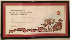 ISAAC BASHEVIS SINGER AUTOGRAPHED POSTER 1978 NOBEL LITERATURE COMMEMORATIVE