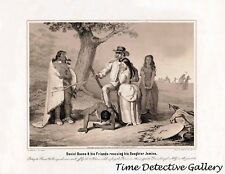 Daniel Boone & Friends Rescuing Daughter Jemima - 1851 Lithograph Reprint