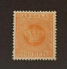 Angola 1870 SC# 8 Crown - 200 REIS Orange Mint Lightly Hinged - Perf. 13 1/2