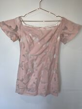 Forever New Off The Shoulder Dress - Baby Pink - Size 12 - Frill Sleeve