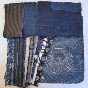 Vintage Japanese Cotton Indigo Fabric Scrap Odds & Ins, 10 Piece Bundle