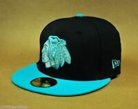 New Era 59Fifty NHL Cap Chicago Blackhawks Fitted Black Vice Blue 2 Tone Hat