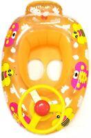 Baby Kids Inflatable Swim Swimming Seat Boat Ring Steering Wheel Car Orange BEE