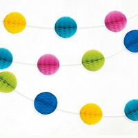 Multi Mini Honeycomb Ball Bright Paper Garland Party Banner Decoration 7ft