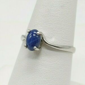 10K White Gold - Synthetic Lindy Star Sapphire Ring - Size 7.25 - 1.7 Grams