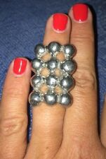 HANDMADE Anne Marie Chagnon LUNARIA Ring PEWTER ADJUSTABLE