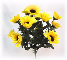 14 Yellow Sunflowers Bush Silk Wedding Flowers Bouquets Centerpieces Fall Decor