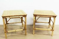 Pair of Vintage Bamboo & Rattan Top Side or Plant Tables E/0166