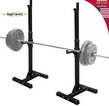 Pair of Adjustable Standard Solid Steel Squat Stands Barbell Free Press GYM
