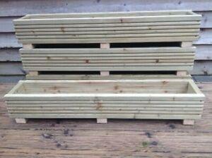 Handmade 110cm Long Tanalised Garden Timber Wooden Decking Board Trough Planter