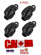 4Pcs Tire Wheel Rim Stem Air Valve Caps Cover Car Truck Bike SUV Grenade Black