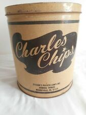 Vintage Charles Chips Advertising Tin 1 Pound Round Chip Can
