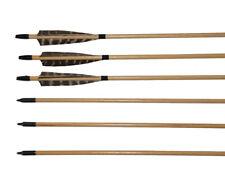 6pk Archery Hunting 33'' Wooden Arrows 5'' Shield Turkey Feather Practice Target
