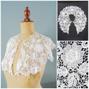 Antique Lace Collar Victorian Bertha Bobbin Floral Capelet Bride Bridal White B