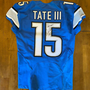 """Golden Tate Signed Autographed Game / Team Issued Lions Jersey 2016 """"Go Lions"""""""