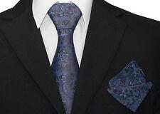 Mens Blue And Black Flower Silk Woven Tie+Hanky & Cufflinks Matching Set CR003