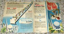NEW YORK WORLD'S FAIR 1940 POSTER & PICTORIAL PHOTO BROCHURE TRYLON & PERISPHERE