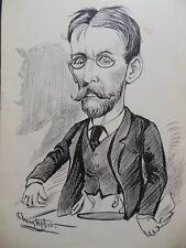 Original Christopher Davis Caricature Portrait c1885 (Possibly a Politician?)
