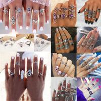 15Pcs Retro Silver/Gold Boho Knuckle Stack Plain Ring Midi Finger Rings Set Gift