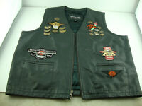 Wilson Leather Vest Harley Davidson vest with HOG Pins and Patches XL
