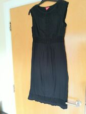 Ladies MONSOON Dress Size 10 Black Cotton Embroidered Trim Smart Casual Day