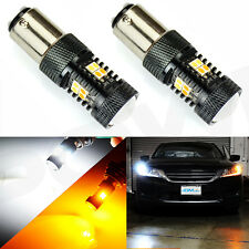 2X 1157 3030 SMD DUAL COLOR SWITCHBACK WHITE AMBER TURN SIGNAL LED LIGHT BULB