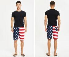 Men Summer Beach Pants Swimwear Swim Trunks Surf Board Shorts American USA Flag