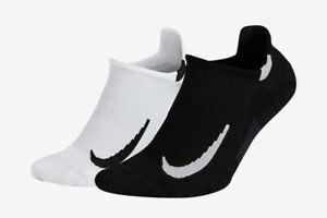 Nike Multiplier No-Show Athletic Socks Black White Socks Various Size SX7554-914