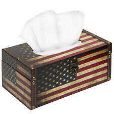 Vintage Patriotic American Flag Design Hinged Refillable Tissue Box Holder Cover