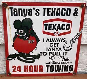 VINTAGE 1963 DATED HOT ROD RAT FINK ED ROTH TANYA'S TEXACO TOWING PORCELAIN SIGN