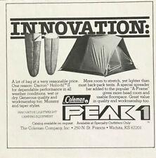 1976 Coleman Peak 1 Wichita KS Print Ad Innovation Sleeping Bags A-Frame Tent
