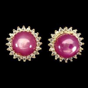 Round Red Ruby 8mm Cz 14K Yellow Gold Plate 925 Sterling Silver Earrings