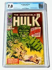 CGC 7.0 INCREDIBLE HULK #102 * 1st Issue! * 1968 * Marvel Comics * White Pages!