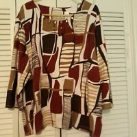 New ALFRED DUNNER Tunic Maroon/Brown/White Beading/Shimmer Fabric 3 XL