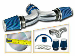AIR INTAKE KIT + BLUE Dual Twin Filter FOR 04-12 Jeep Liberty 3.7L V6