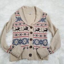GRANE Beige Nordic Fair Isle Shawl Button-Down Cardigan Sweater Size S