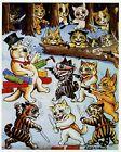 Louis Wain print CATS PLAY ROBBERY funny cat illustration art