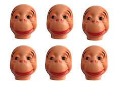 Lot of 6 Monkey Celluloid Plastic Doll Masks Faces Craft Animal Doll Making Vtg