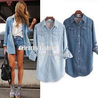 ts12N3L Celebrity Style Womens Vintage Boyfriend Chambray Long Denim Shirt Dress