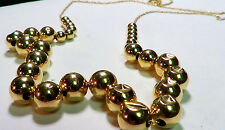 VINTAGE SOLID 14K YELLOW GOLD GRADUATED BEADS NECKLACE 24 INCHES LONG NO RESERVE