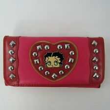 Betty Boop Tri Fold Wallet Studded Heart Detail Pink Red Women Accessory New