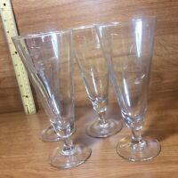 Set of (4) Princess House Heritage #442 Pilsner / Lager Beer Crystal Glasses