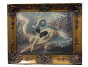 Vladimir Tretchikoff 1950s vintage framed print - The Dying Swan - Ballet