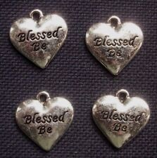 4 BLESSED BE Heart Shaped Charms Silver Tone Metal  Pagan Wiccan  20mm