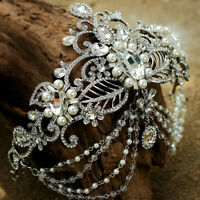Vintage style Wedding Bridal Crystal Pearl Headband Queen Crown Tiara Hair