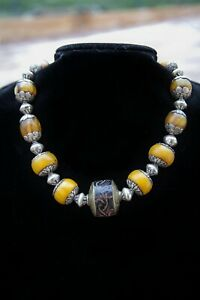 """Sterling Silver Tibetan Amber Necklace - """"Far East"""""""